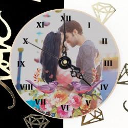 zegar ze zdjęciem Zakochane Skowronki na prezent dla dziewczyny