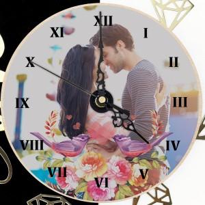 foto zegar ze zdjęciem Zakochane Skowronki na prezent dla chłopaka