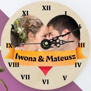 zegar ścienny ze zdjęciem Miłosne Godziny