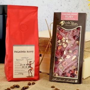 słodki upominek dla niego  - czekolada i kawa w zestawie
