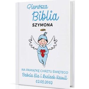 Biblia dla dzieci na prezent na chrzest Niebieski aniołek
