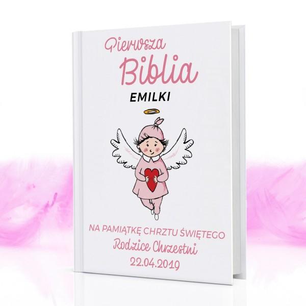 Biblia dla dzieci na prezent na chrzest z nadrukiem Różowy aniołek