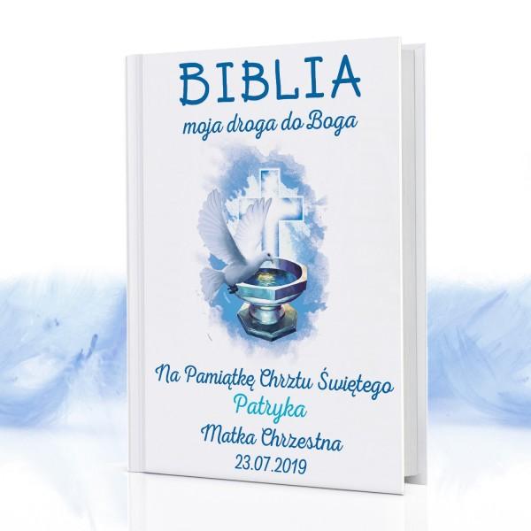 biblia dla dzieci na prezent na chrzest z nadrukiem Droga do Boga