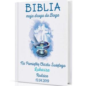 spersonalizowana biblia na prezent na chrzest dla chłopca Droga do Boga