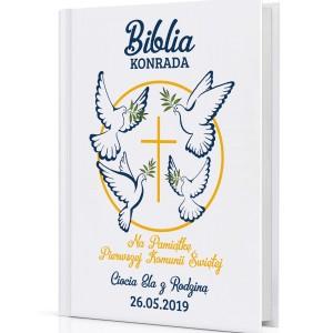 pismo święte z własną okładką Moja Pierwsza Komunia na pamiątkę komunii świętej