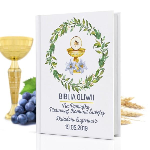 biblia z własną okładką na prezent komunijny