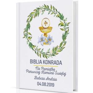 ilustrowana biblia z nadrukiem na pamiątkę komunii świętej