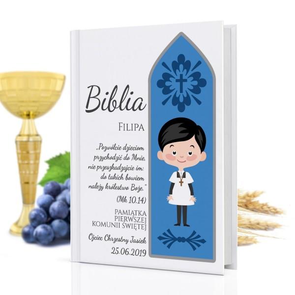biblia dla dzieci z nadrukiem na pamiątkę komunijną