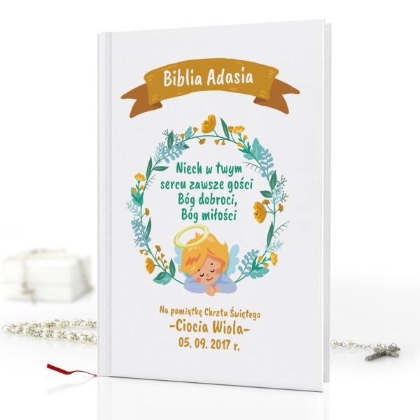 biblia dla dzieci Boże Serce na prezent na chrzest dla chłopca