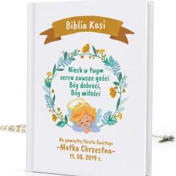 spersonalizowana biblia dla dzieci Boże Serce na prezent na chrzest dla dziewczynki