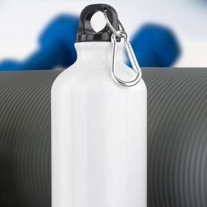 biały bidon na wodę z nadrukiem