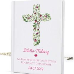 spersonalizowana biblia na chrzest z nadrukiem Różowe Kwiaty