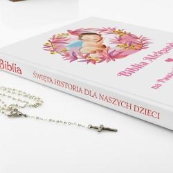 prezent na chrzest dla dziewczynki biblia z nadrukiem Boży Aniołek