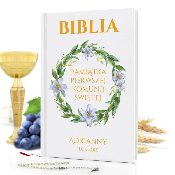 biblia dla dzieci z nadrukiem Dar Boży na prezent na komunię