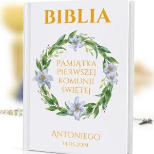 personalizowana biblia na chrzest Dar Boży na prezent na komunie świętą