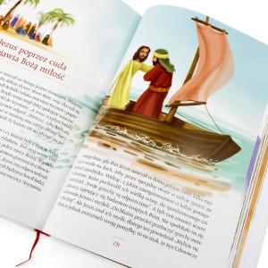 ilustrowana biblia na komunię z nadrukiem Dar Boży na prezent