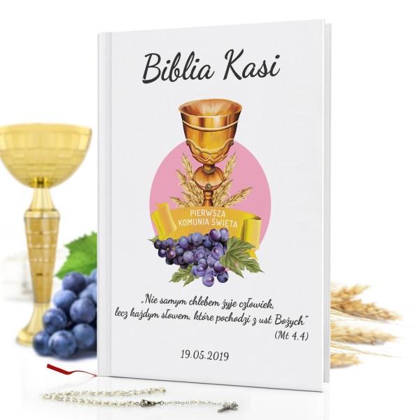 biblia dla dzieci z nadrukiem Złote Kłosy na prezent na komunię