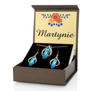 biżuteria z niebieskimi kryształkami na prezent