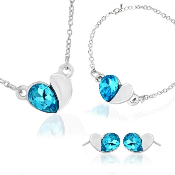 komplet biżuterii naszyjnik kolczyki bransoletka