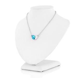 naszyjnik z niebieskim kryształkiem na prezent