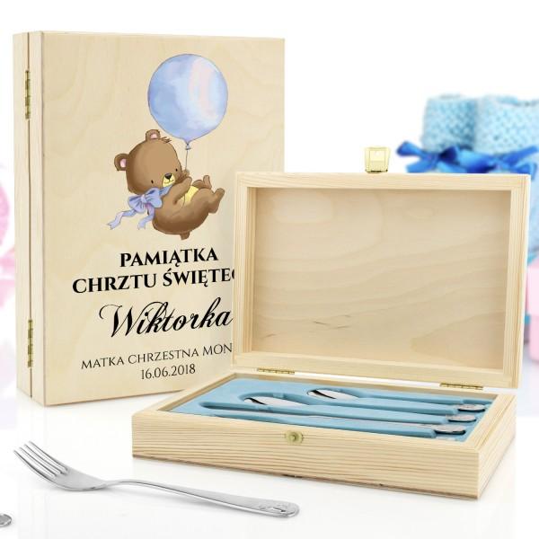 sztućce dla dzieci w pudełku z grawerem wesołe zwierzątka