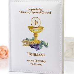 album z personalizacją na komunię złoty kielicz