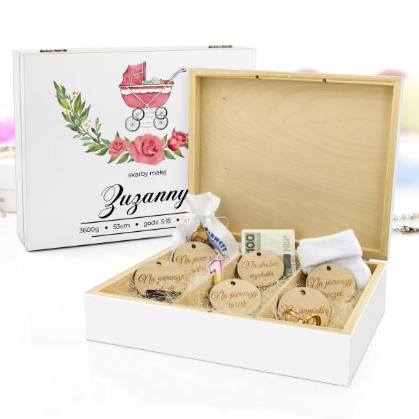 pudełko wspomnień z nadrukiem Różyczki na prezent dla dziecka