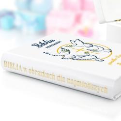 biblia dla dzieci z nadrukiem na prezent na komunię białe gołębice
