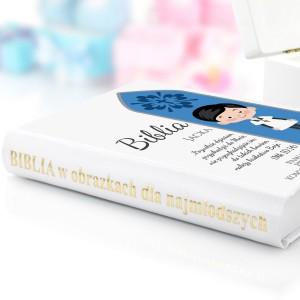 biblia na komunię z dedykacją na prezent dla chłopca
