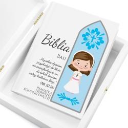 biblia na komunię w drewnianym pudełku z personalizacją