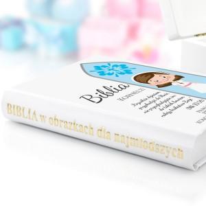 pamiątka komunijna biblia  dla dzieci z dedykacją