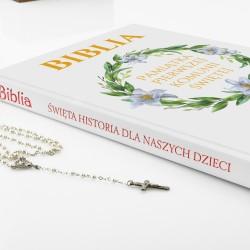 biblia dla dzieci z nadrukiem liliowy wianek na prezent na komunie