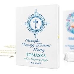 pamiątka na komunie drewniane pudełko z nadrukiem promienie eucharystii