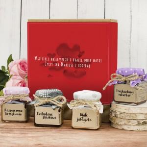 zestaw konfitur w pudełku z nadrukiem na prezent na dzień matki