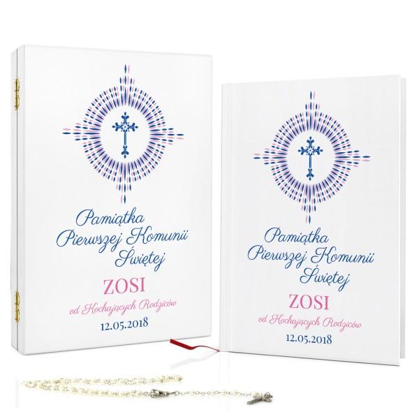 prezent na komunię dla dziewczynki biblia dla dzieci w szkatułce promienie wiary