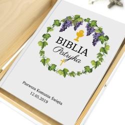 biblia z personalizacją winorośl na prezent na komunię dla chłopca