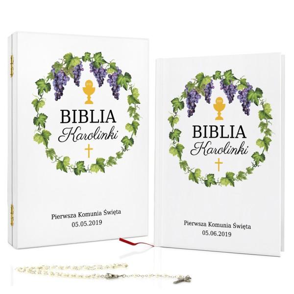 biblia z dedykacją w pudełku na pamiątkę na komunię winorośl