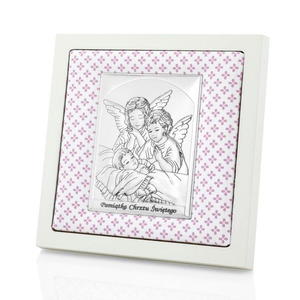 obrazek na chrzest dla dziewczynki stróżujące aniołki