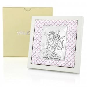 prezent na chrzest dla dziewczynki obrazem srebrny stróżujące aniołki