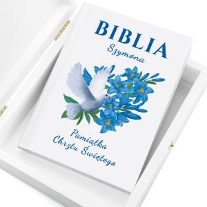 pamiątka chrztu biblia dla dzieci z nadrukiem