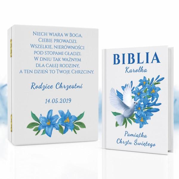 biblia w pudełku z nadrukiem na prezent na chrzciny