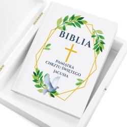 biblia z personalizacją gołębica na prezent na chrzest dla chłopca