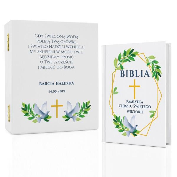 pamiątka chrztu biblia dla dzieci w drewnianym pudełku gołębica