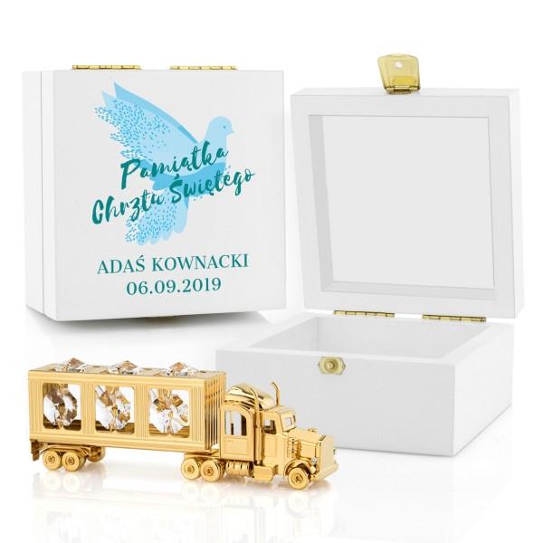 pozłacana ciężarówka swarovski w drewnianym pudełku z nadrukiem na prezent na chrzest białe kryształy