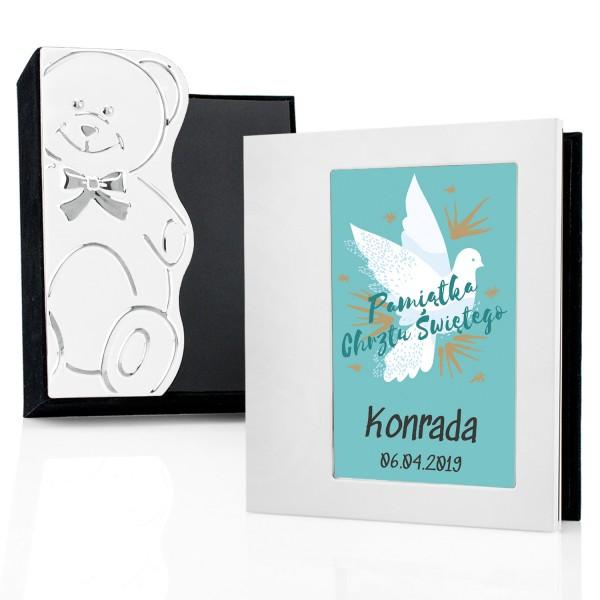 album na zdjęcia z imieniem na prezent na chrzciny gołąbek