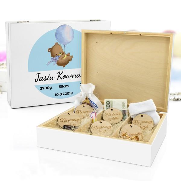 pudełko wspomnień z nadrukiem na prezent dla chłopca niebieski miś
