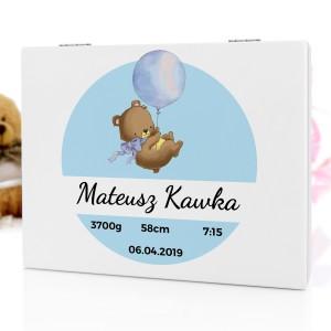 pudełko wspomnień dla noworodka niebieski miś