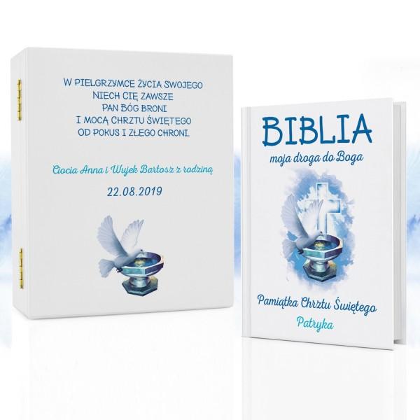 biblia na chrzest w pudełku na prezent dla chłopca droga do boga
