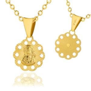 łańcuszek złoty na komunię z medalikiem matka przenajświętsza