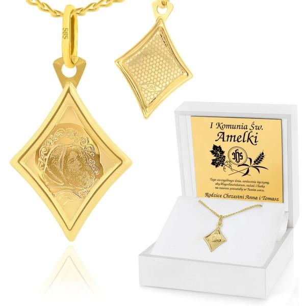 złoty łańcuszek z medalikiem w pudełku z grawerem na prezent komunijny